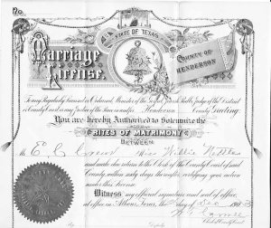 Willie Nettles - E. Clifford Crews Marriage License, 1903, Henderson County, Texas
