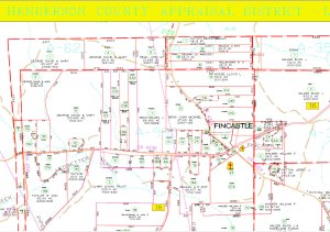 Portion of Map 61 of Henderson County, Texas plat maps posted online by the Henderson County Appraisal District, 2013.  Click on the image to view full size.  See the Texas Resource List page for a link to the Henderson County Appraisal District.