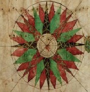 Compass Rose from the Portolan chart of the Pacific coast from Mexico to northern Chile