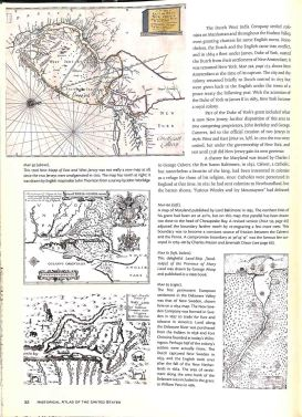 A typical page from Historical Atlas of the United States. Text consumes a significant portion of the page and maps are too small to be of more than casual use.