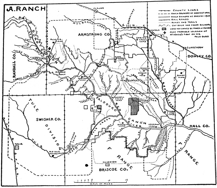 Map of the JA Ranch, original boundaries. Undated; source unknown. Downloaded from http://www.ranches.org/ja-ranch.htm, 29 Sep 2015.