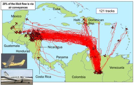pin and string map of drug smuggling routes